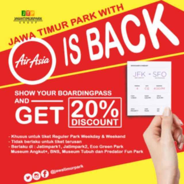 Promo Jatim Park Gunakan Boarding Pass Garuda, Air Asia, atau Citilink dapatkan diskon tiket masuk hingga 20%. Periode hingga 31 Desember 2016.