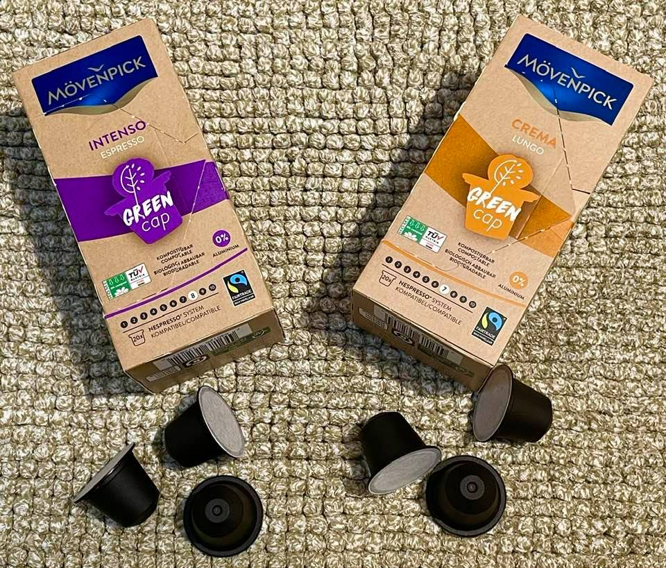 Environmentally Friendly Mövenpick Green Cap Bio-Degradable Coffee Capsules