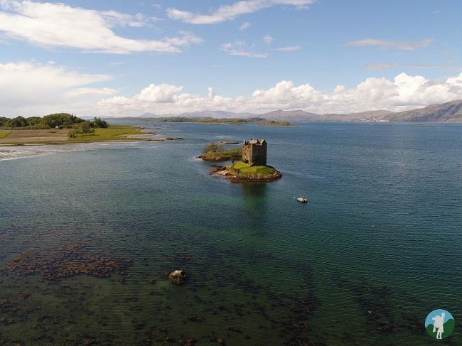 aerial photography scotland castle stalker