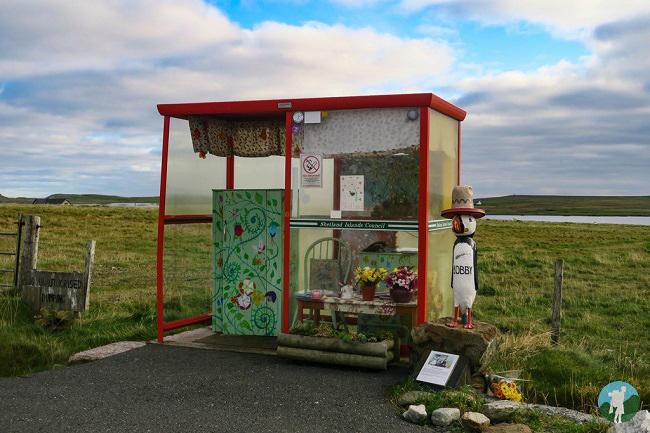 unst day trip bus shelter shetland