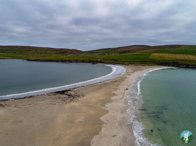 st ninian's isle drone photography scotland shetland