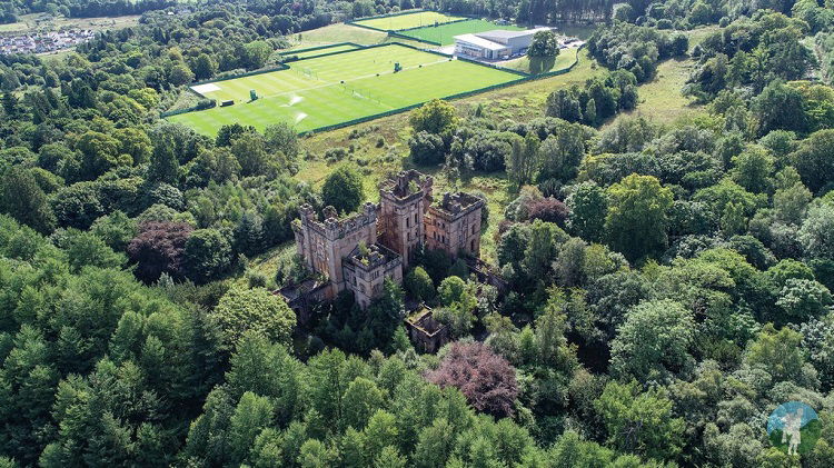 aerial lennox castle abandoned derelict