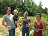 Tomm, Silas, Michelle, and Laura picking berries at Birch point Farm