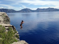 Jumping into crater lake
