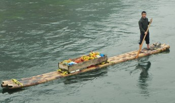 Guilin, Li River, Bomboo Raft, Fruit, Merchant