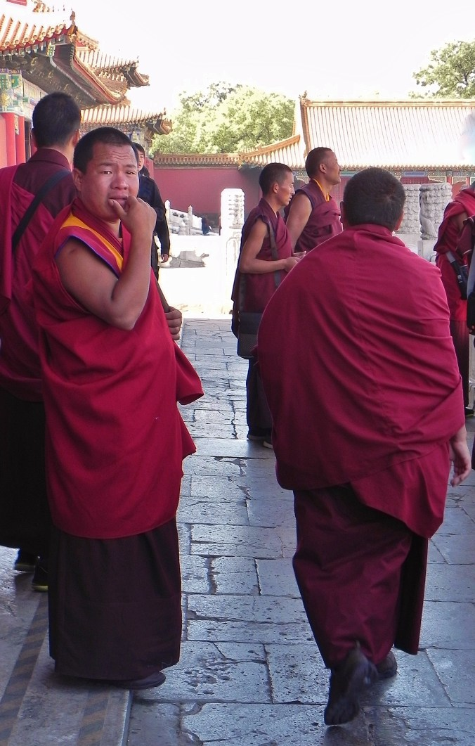 China, Beijing, Forbidden City, Buddhist Monks, Buddhist, monks, red robed