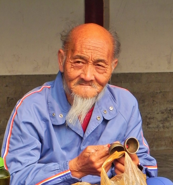China, Beijing, Temple of Heaven, old man, pipes