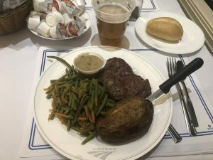 Amtrak Signature Steak dinner served on the Silver Meteor