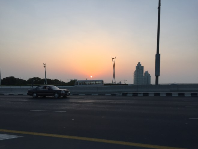 Sunrise, the drive into Dubai from the airport.