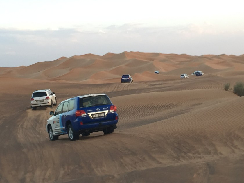 Dune bashing in the 4WDs in Dubai