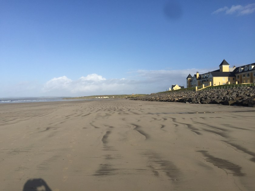 The view along Rossnowlagh Beach to the Sandhouse Hotel, County Donegal, Ireland