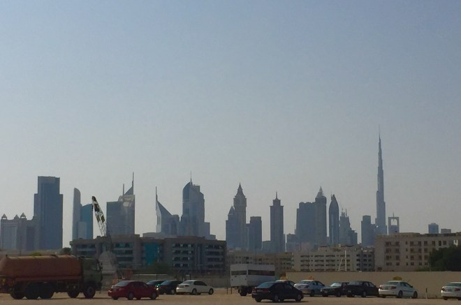 The Burj Khalifa is the tallest building on the right