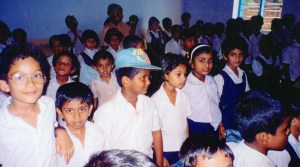 Students at Holy Cross, Kerala, India