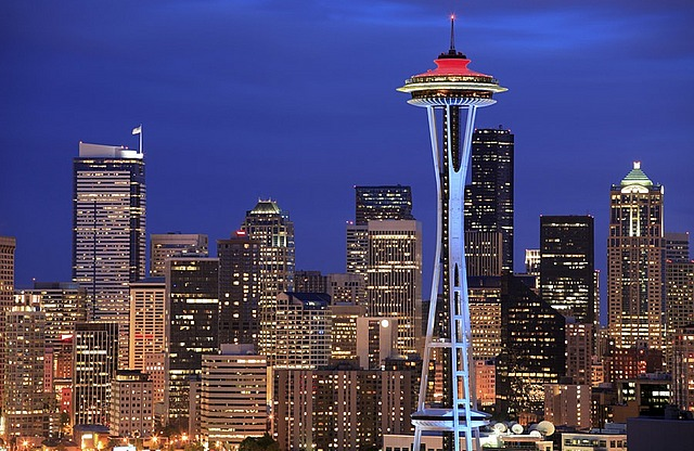 The Space Needle and the Seattle skyline at night