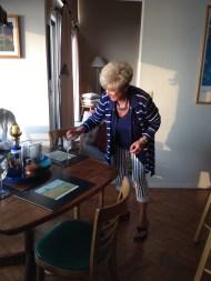 Sue demonstrating her superior martini-making skills.