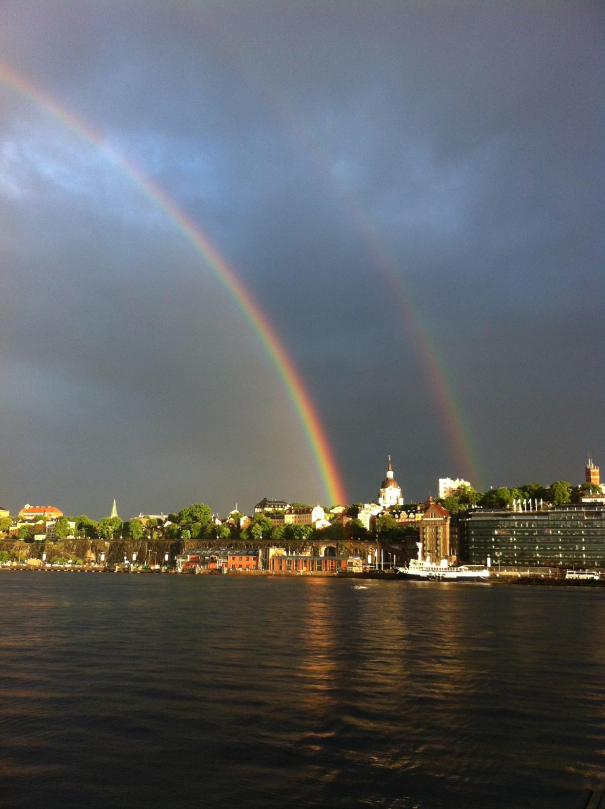 A double rainbow over Saltsjön in Stockholm.