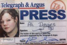 My Press Pass for Bradford's Telegraph & Argus