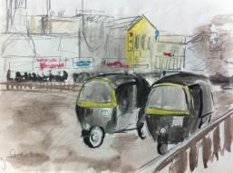 Autorickshaws in Bangalore, from my Indian Sketchbook