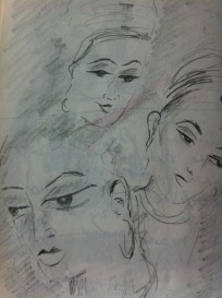 Detail cave paintings in the Ajanta Caves from my Indian Sketchbook
