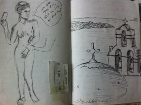 """Page from my Greece sketchbook """"One more move and I'll get you with me flip flop""""."""