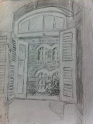 Sketch of the Taj Hotel, from the Diplomat Hotel in Mumbai, India, by Ali Dunnell.