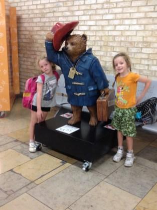 Frida and Lottie with Paddington in Paddington