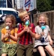 Lottie, Leon and Frida enjoying an ice-cream in London