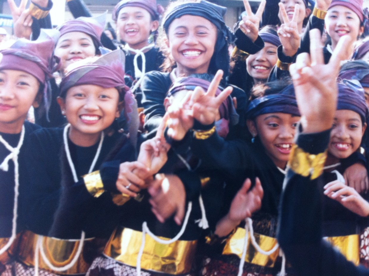 Girls on carnival day in Yogyakarta, Java.