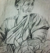 Woman selling flowers in Anjuna market, Goa - from my India sketchbook.