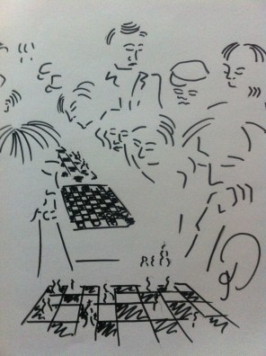 Speed chess in Battery Park, Manhattan, New York from my United States of America Sketchbook.