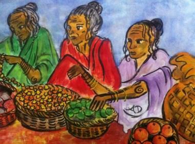 Women selling fruit at Anjuna market in Goa, India.