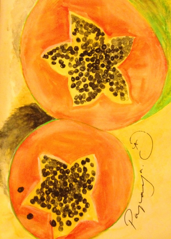 Papaya in watercolour, Tanzania.