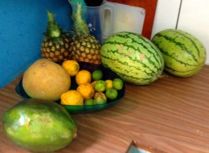 Fruit bowl overspill - our mid week shop, Tanzania.