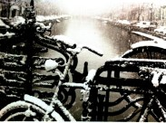 Snowflakes on abandoned bicycles along the Prinsengracht in Amsterdam.
