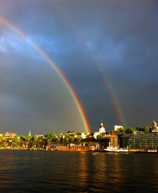 A double rainbow over the Saltsjön in Stockholm, Sweden