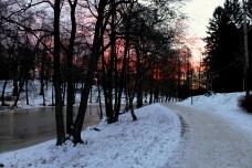 Winter sunrise along Åkers Canal in Åkersberga, Sweden.