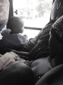 My travelling bus companions in seat K1 and K2 from Mwanza to Benaco