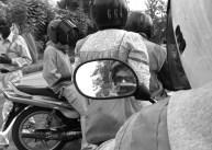 Piki piki wing-mirror selfie in Kigali, Rwanda