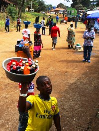 Drink vendor selling refreshments - On the train from Mwanza to Dar Es Salaam, Tanzania.