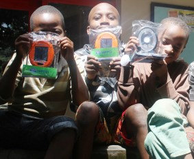 Solar lamp Christmas presents for the Saturday School children at Isamilo International School in Mwanza, Tanzania