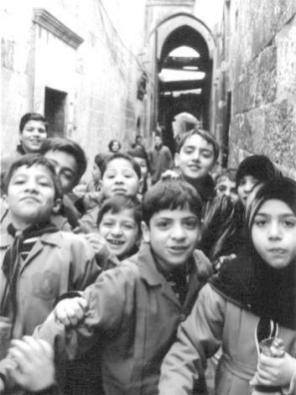 Schools out in the Souk al Madina, Aleppo, Syria.