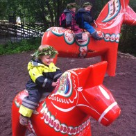 All aboard the Dalarna Horse for some Midsummer fun at Skansen in Stockholm
