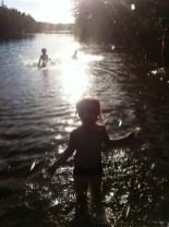 Frida, Leon and Lottie - Wild swimming in the lake at Domarudden near Åkersberga.