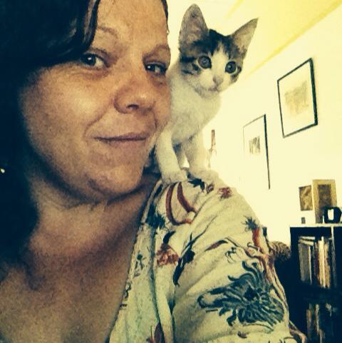 Ali and Kerouac the kitten