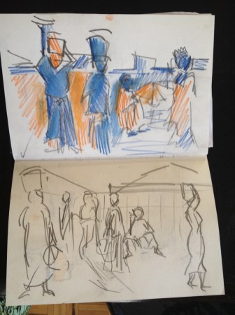 Stage 1 - initial sketches from pages from my Tanzanian Sketchbook