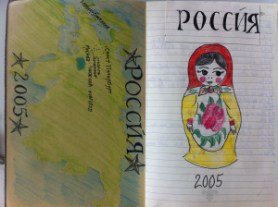 A matryoshka doll and map of Russia - from my Russia sketchbook