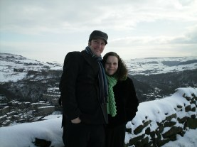 Ali and Mark on a wintery walk in Heptonstall, West Yorkshire, England