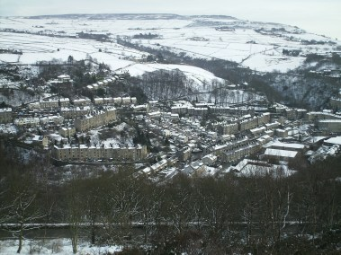 The from Heptonstall down to Hebden Bridge and the Calder Valley, West Yorkshire, England
