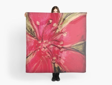 Red Hibiscus Detail - scarf for RedBubble