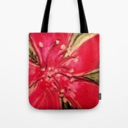 Red Hibiscus Detail - tote bag